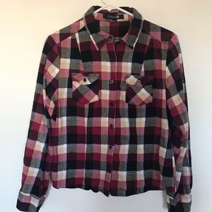 Forever 21 Red Flannel Plaid Long Sleeve Top